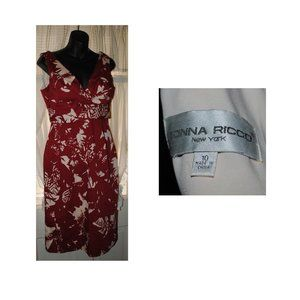 EUC DONNA RICCO NEW YORK Sz 10 V-Neck/Back Dress